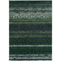 "Tribal Etchings Green/ Blue Rug (9'9 x 12'2) - 9'9"" x 12'2"""