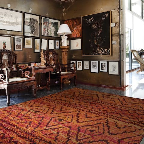 "The Curated Nomad Venter Tribal Diamond Orange/ Red Area Rug - 9'9"" x 12'2"""
