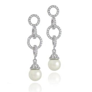 Glitzy Rocks Sterling Silver Cubic Zirconia Faux Pearl Earrings