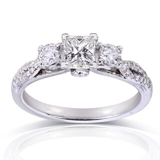 Annello by Kobelli 14k White Gold 4/5ct TDW Princess-cut Diamond Engagement Ring