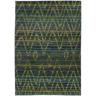 Tribal Chevron Etchings Green/ Blue Rug (6'7 x 9'1)