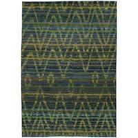 Tribal Chevron Etchings Green/ Blue Rug