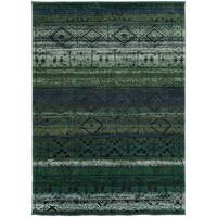 Tribal Etchings Green/ Blue Rug - 5'3 x 7'6