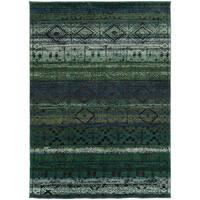 Tribal Etchings Green/ Blue Rug - 4' x 5'9