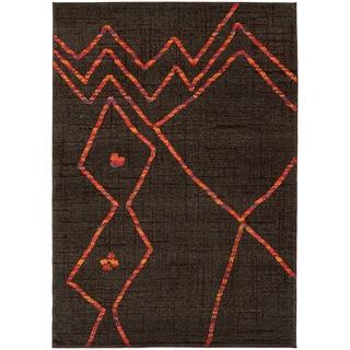 Abstract Tribal Brown/ Orange Rug (4' x 5'9)