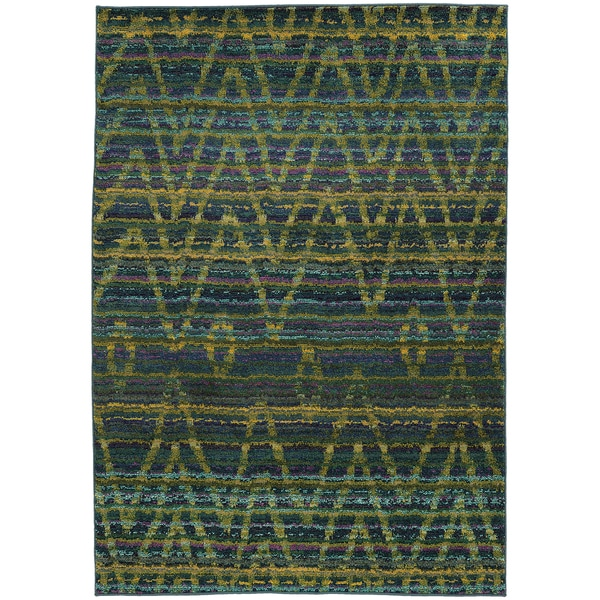 "Tribal Chevron Etchings Green/ Blue Rug (9'9 x 12'2) - 9'9"" x 12'2"""