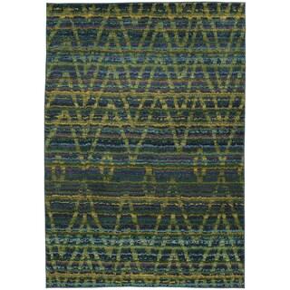 Tribal Chevron Etchings Green/ Blue Rug (9'9 x 12'2)