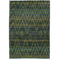 Tribal Chevron Etchings Green/ Blue Rug - 9'9 x 12'2