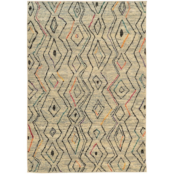 Abstract Tribal Diamond Ivory/ Multi Rug (9'9 x 12'2)