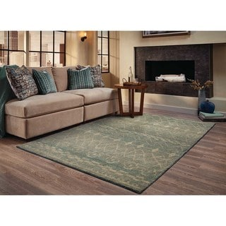 "Abstract Tribal Relief Blue/ Beige Rug (9'9 x 12'2) - 9'9"" x 12'2"""