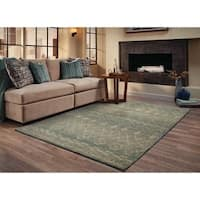 Abstract Tribal Relief Blue/ Beige Rug (9'9 x 12'2) - 9'9 x 12'2
