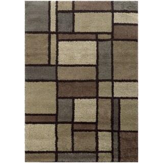 Geometric Block Shag Beige/ Midnight Rug (3'3 x 5'5)
