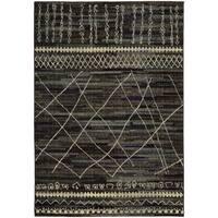 Updated Old World Tribal Black/ Beige Rug - 7'10 x 10'10