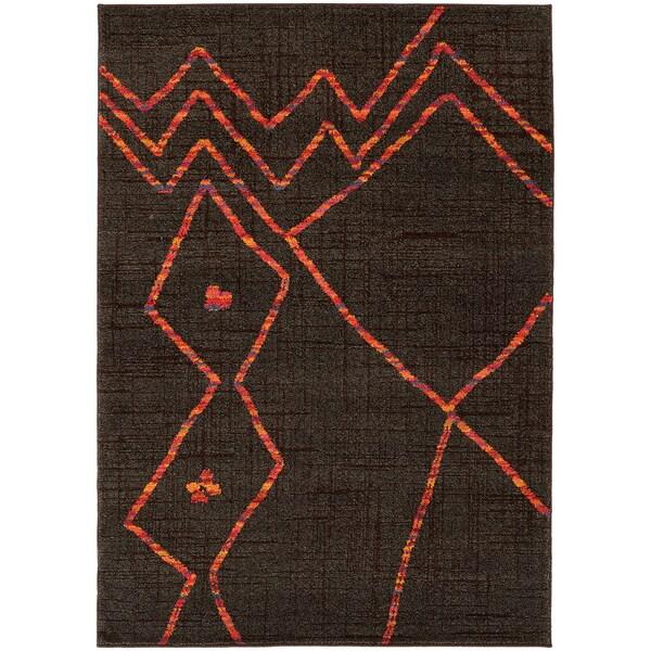 "Abstract Tribal Brown/ Orange Rug (6'7 x 9'1) - 6'7"" x 9'1"""