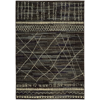 Updated Old World Tribal Black/ Beige Rug (6'7 x 9'1)