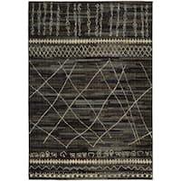 Updated Old World Tribal Black/ Beige Rug (6'7 x 9'1)