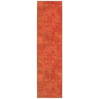 Faded Floral Relief Orange/ Pink Area Rug (2'7 x 10')