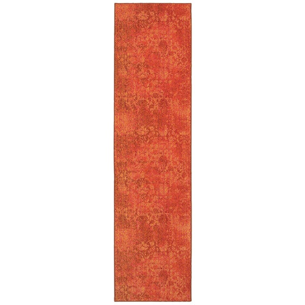 "Aura Faded Floral Relief Orange/ Pink Area Rug (2'7 x 10') - 2'7"" x 10'"