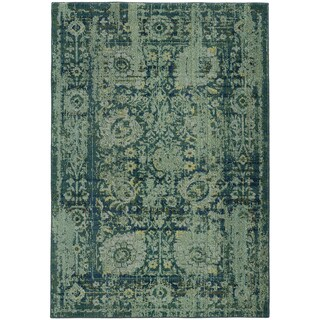 Pantone Universe Expressions Faded Floral Traditional Blue/ Green Rug - 4' x 5'9