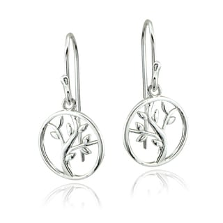 Mondevio Sterling Silver Tree of Life Dangle Earrings