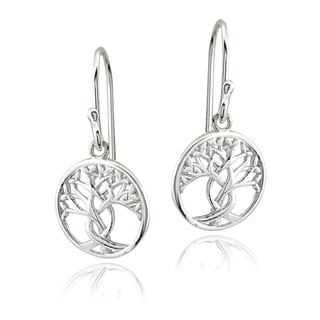 Mondevio Sterling Silver Tree of Life Cutout Earrings