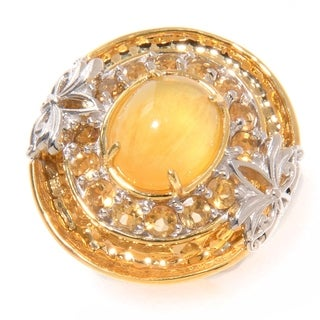 Michael Valitutti Palladium Silver Aragonite and Citrine Ring