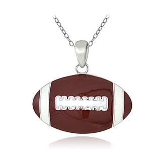 Mondevio Sterling Silver Enamel Football Necklace
