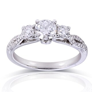 Annello by Kobelli 14k White Gold 4/5ct TDW Round-cut Diamond Engagement Ring