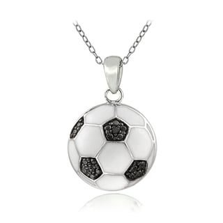 ICZ Stonez Sterling Silver Cubic Zirconia Soccerball Necklace