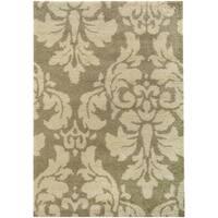 Damask Floral Shag Ivory/ Beige Rug (3'3 x 5'5)