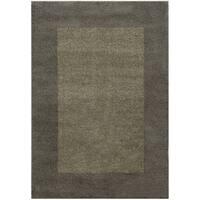 """Two-tone Border Shag Grey/ Beige Rug (3'3 x 5'5) - 3'3"""" x 5'5"""""""