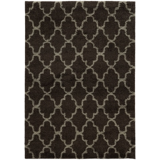 Scalloped Lattice Shag Midnight/ Grey Rug (3'3 x 5'5)