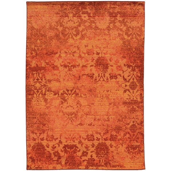 Aura Faded Floral Relief Orange/ Pink Area Rug (4' x 5'9) - 4' x 5'9""