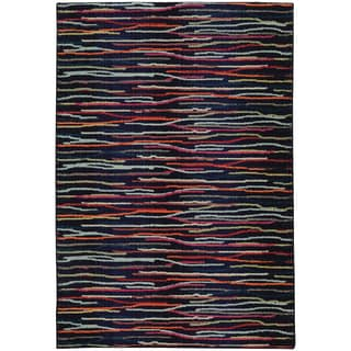 Pantone Universe Expressions Abstract Lines Blue/ Multi Rug (4' x 5'9)