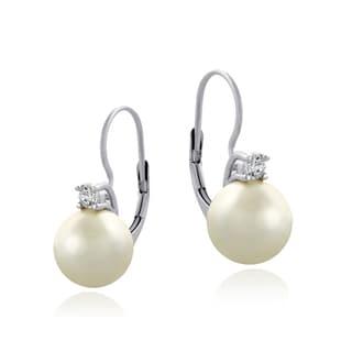 Glitzy Rocks Sterling Silver Cubic Zirconia Faux Pearl Leverback Earrings