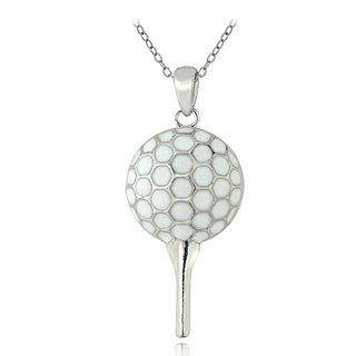 Mondevio Sterling Silver Enamel Golf Ball and Tee Necklace