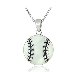 Mondevio Sterling Silver Enamel Baseball Necklace