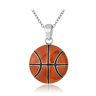 Mondevio Sterling Silver Enamel Basketball Necklace
