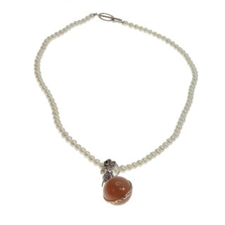Michael Valitutti Peach Moonstone and Rhodolite Pendant Pearl Necklace (5 mm)