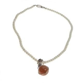 Michael Valitutti Peach Moonstone and Rhodolite Pendant Pearl Necklace (5 mm)