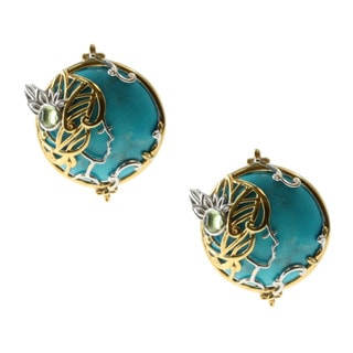 Michael Valitutti Gold over Silver Howlite and Peridot Lady Profile Stud Earrings