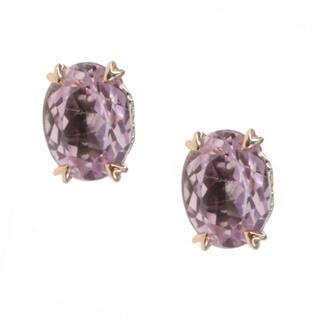 Michael Valitutti Gold over Silver Kunzite Stud Earrings