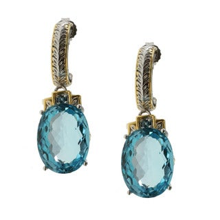 Michael Valitutti Gold over Silver Sky Blue Topaz Earrings