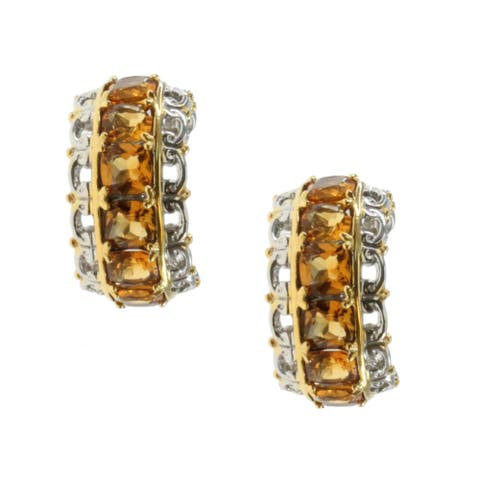 Gems en Vogue Gold over Silver Canary Citrine Earrings