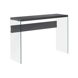 Glossy Grey Hollow-Core Tempered Glass Sofa Table