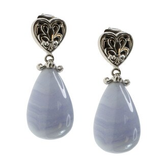 Dallas Prince Sterling Silver Lace Agate Dangle Earrings
