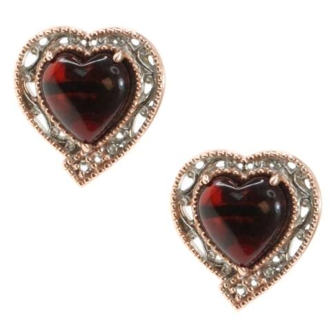 Michael Valitutti Palladium Silver Deep Amber Heart Stud Earrings