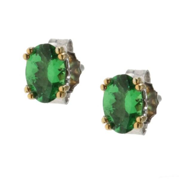 M V Jewels Gold Over Silver Tsavorite Garnet Stud Earrings