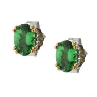 M.V. Jewels Gold over Silver Tsavorite Garnet Stud Earrings