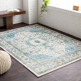 Meticulously Woven Amien Blue/ White Area Rug (5'2 x 7'6)